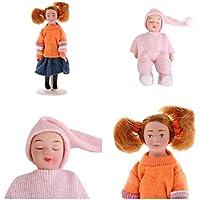 D DOLITY 2個 磁器人形 寝るベビー&少女 1/12ドールハウスアクセサリー