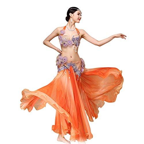 RIKOUZY 豪華 ベリーダンス衣装セット ビーズ刺繍プロ仕様ダンス服 2点セット 高級演出服 ブラ スカート(オレンジ)