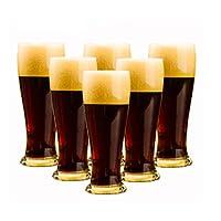 SHENGSHIHUIZHONG ビールジョッキ、ビールジョッキ、ビールガラス製品、ビールジョッキ、ビールジョッキ、セットホーム透明ジュースカップ、飲料カップ、小麦大クリエイティブウエストバーカップ、320ml、スーツ(6パック) ファッション、シンプル (Color : Transparent, Size : 320ml)
