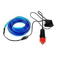 RaiFu ネオンライトカー 柔軟 ELワイヤーロープ チューブ LEDストリップ 防水 パーティー装飾ランプ 12V 4M ブルー シガレットライターコネクタードライブ