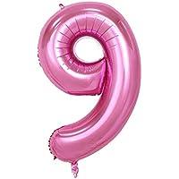 (フィーショー)FEESHOW バルーン 文字 数字 アルミ 組み合わせ 自由 アート 飾り 誕生日 結婚式 祝日 お祝い 風船 ピンク9 Free