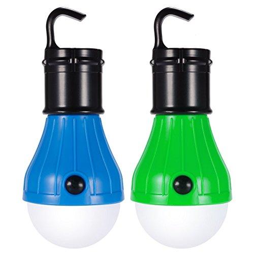 Beatife 屋外 吊り 3LED キャンプ ライト ランタン ポータブル 懐中電灯 釣り提灯 二点セット(ブルー、グリーン)(電池は付属しません)