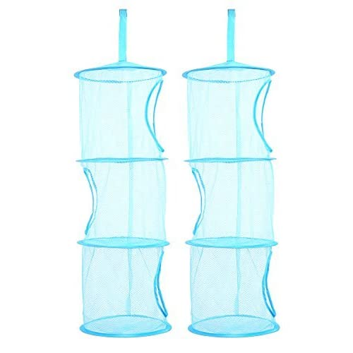 TIRSU Mesh Hanging Storage Organizer toy storage space saver bags 3 Compartments for kid room blue 2pieces lz0001-blue by TIRSU