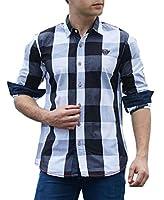 maweisong メンズカジュアルドレスシャツファッションロングスリーブチェック柄ボタンダウンシャツ black L
