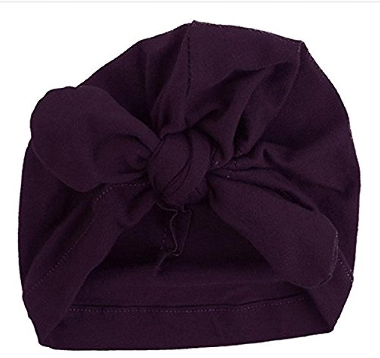 SODIAL 新生児 子供用 人気 スイミング帽子 かわいい ベビー キャップ ハット 結び目 ファッション スリーブ 柔らかい (purple)