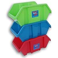 Storage Solutions ベーシックスタッキングビン 3パック - レッド、グリーン、ブルー