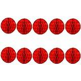TINKSKY ペーパーフラワー ハニカムボール ペーパーポンポン 紙アート イベント お祭り 飾り付け デコレーション 20cm 10個 赤