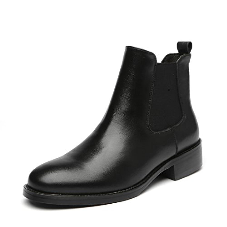 Placck 本革 レディースショートブーツ 黒 チェルシーブーツ 大きいサイズ 防水