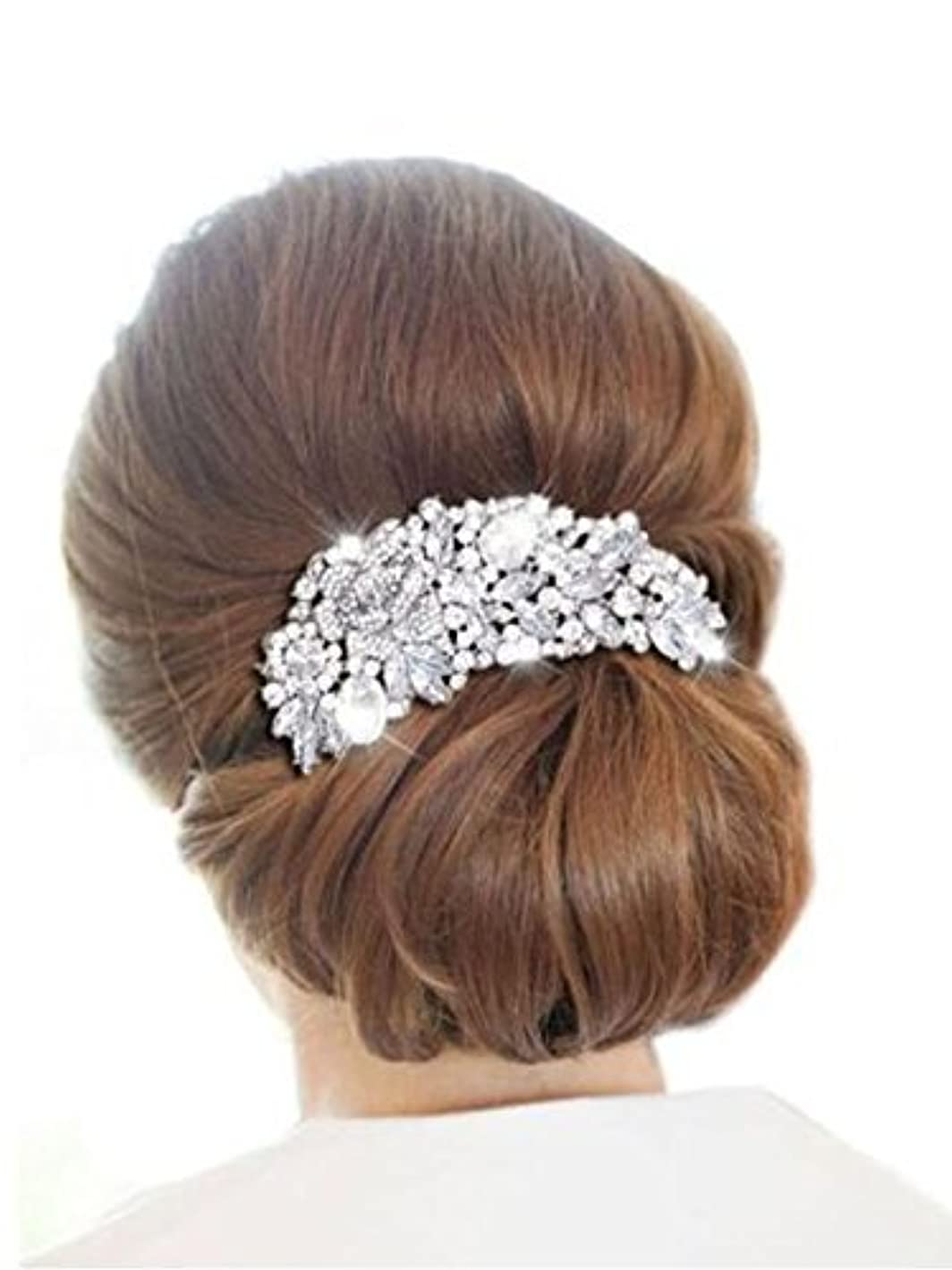 Missgrace Wedding Bridal Hair Comb Crystal Flower Leaf Headpiece Hair Accessories [並行輸入品]