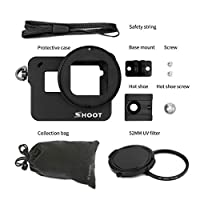 MolySun GoProの英雄5のための52mmの紫外線レンズそして安全ひものカメラの付属品が付いているアルミ合金の保護箱のカメラのおり 黒