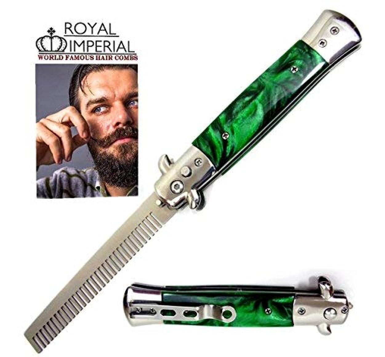 嵐が丘摂氏時計Royal Imperial Metal Switchblade Pocket Folding Flick Hair Comb For Beard, Mustache, Head GREEN MIST Handle ~...