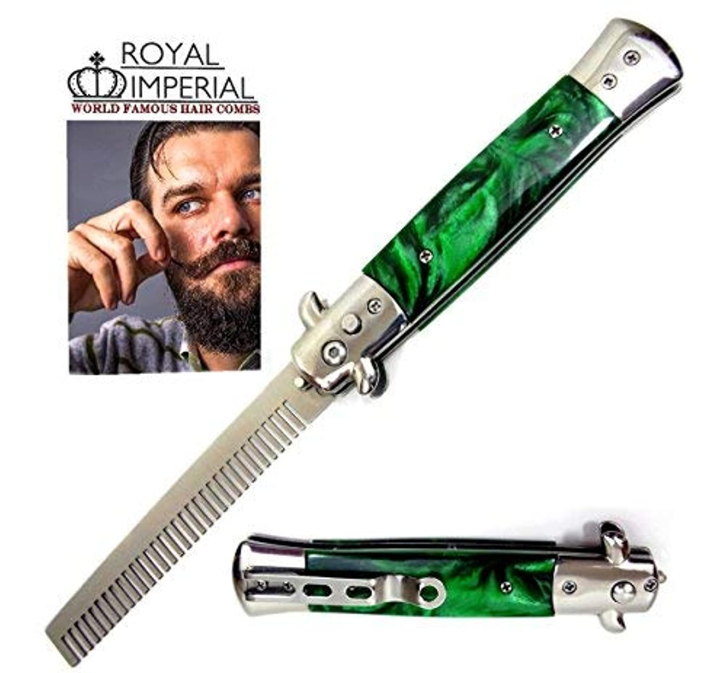 空いている解説警告するRoyal Imperial Metal Switchblade Pocket Folding Flick Hair Comb For Beard, Mustache, Head GREEN MIST Handle ~...