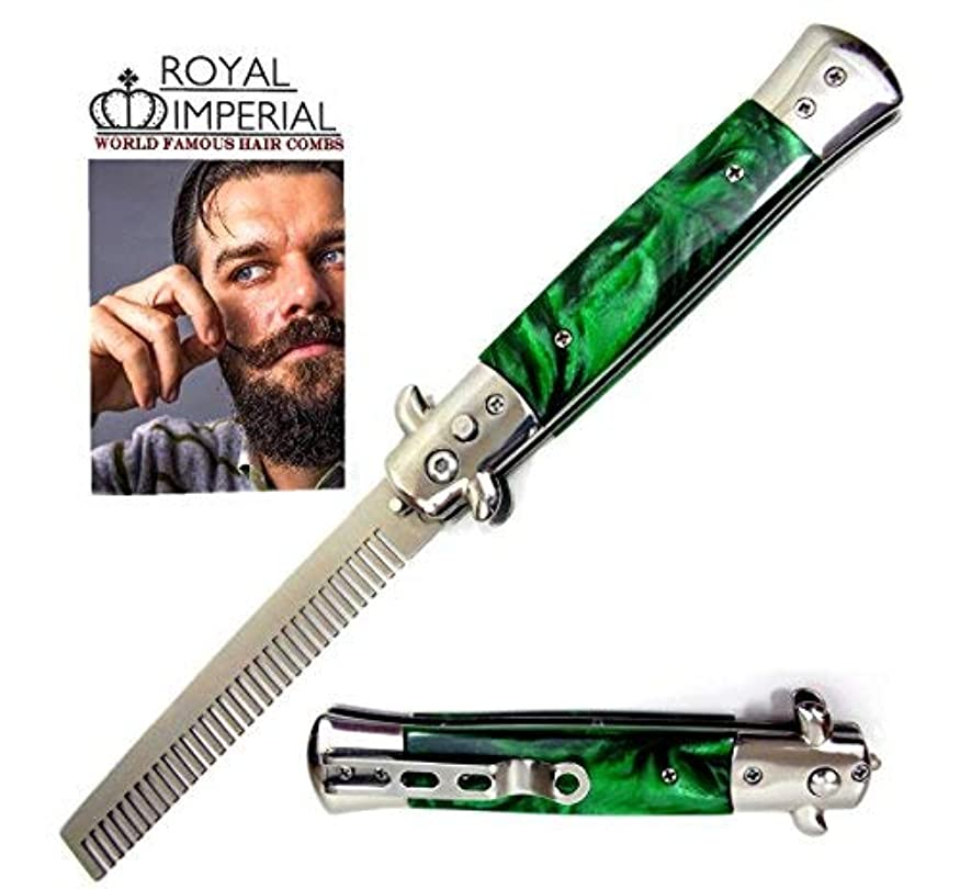 雄弁構成員計算するRoyal Imperial Metal Switchblade Pocket Folding Flick Hair Comb For Beard, Mustache, Head GREEN MIST Handle ~...