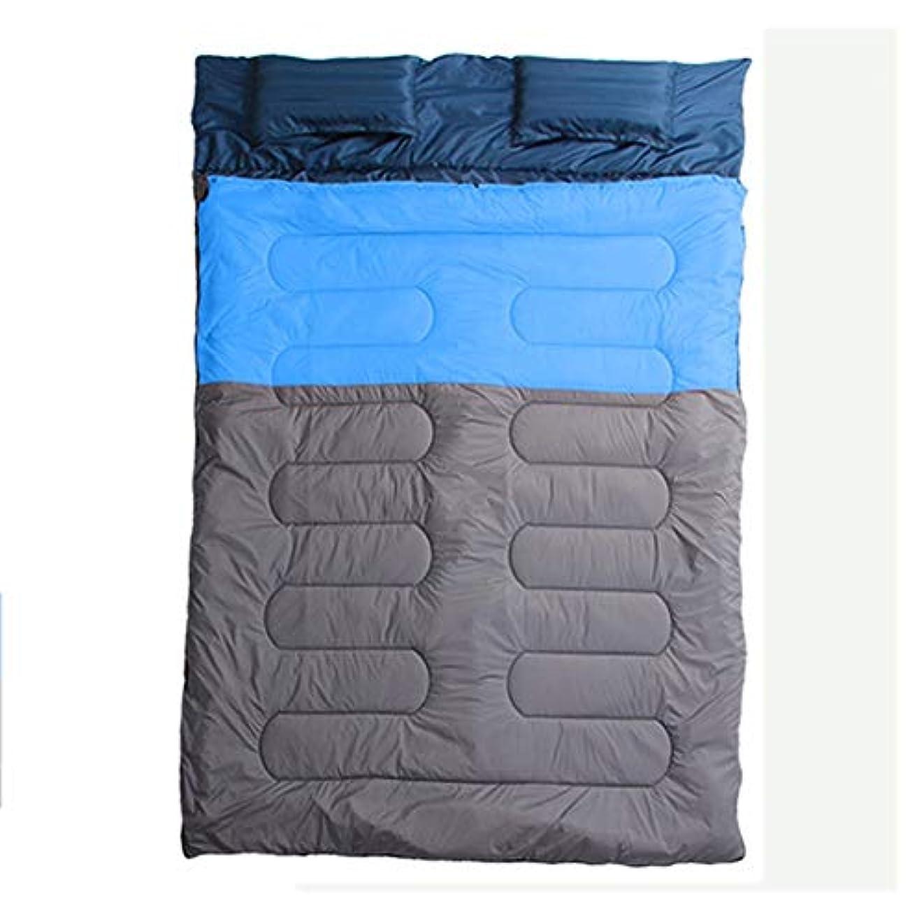 ZXF カップルダブル寝袋広げ厚い暖かい屋外キャンプ屋内ランチ休憩大人ダブルコットン寝袋 暖かくて快適です (色 : Blue, Size : 2.2kg)
