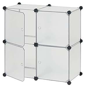 ラックアンドラック 【扉付】4BOXセット 【ピンク】 組み合わせ自由 幅76.3×奥行36.9×高さ76.3cm