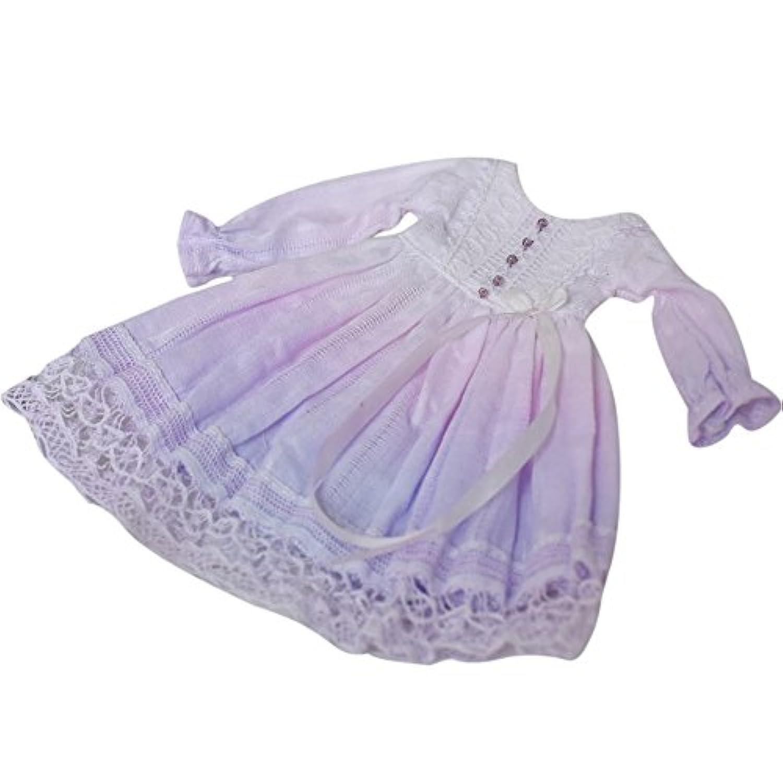Dolly Para ブライス/AZONES 春夏ドレス 刺繍 手染めグラティーション 綿麻 レース 森系 (2号紫ピンク)