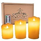 LEDキャンドルライト 本物蝋使用 3点セット ゆらゆら揺れる リモコン付き タイマー 明るさ調整付き 高級感 クリスマス パーティー 結婚式に最適