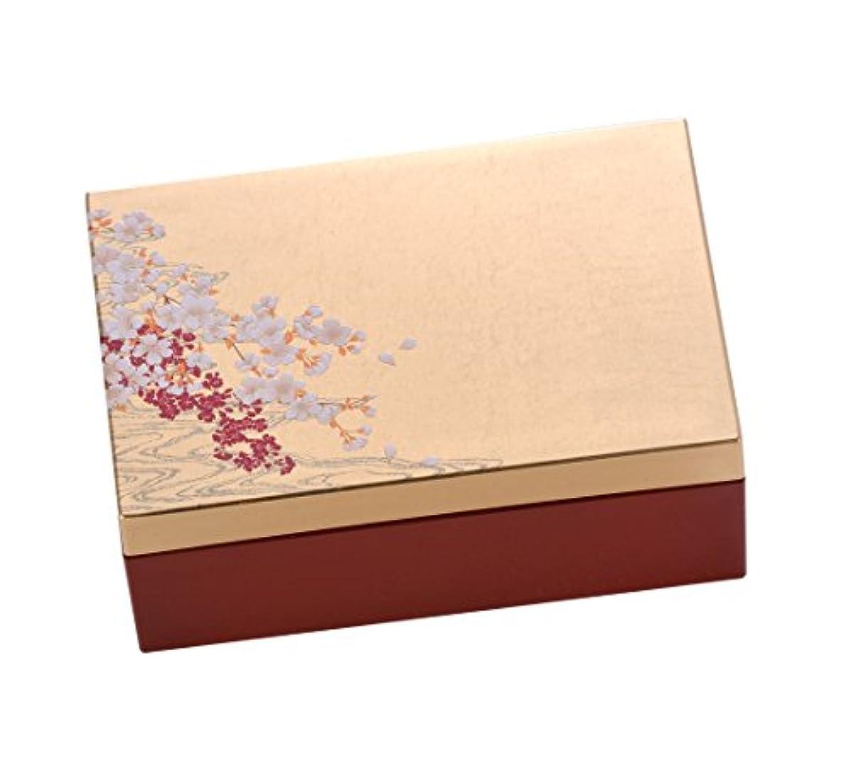 彼らのものストライド上昇箔一 ジュエリー収納 ゴールド 135×90×55mm 桜に流水 箔アクセサリーBOX S A182-04012