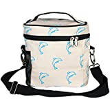 """EcoRight Lunch Bag Reusable Cotton Canvas EcoFriendly Insulated Cooler Washable Zipper for Men, Women, Adults Printed """"Dolphins"""" (Natural) -(0801S04)"""