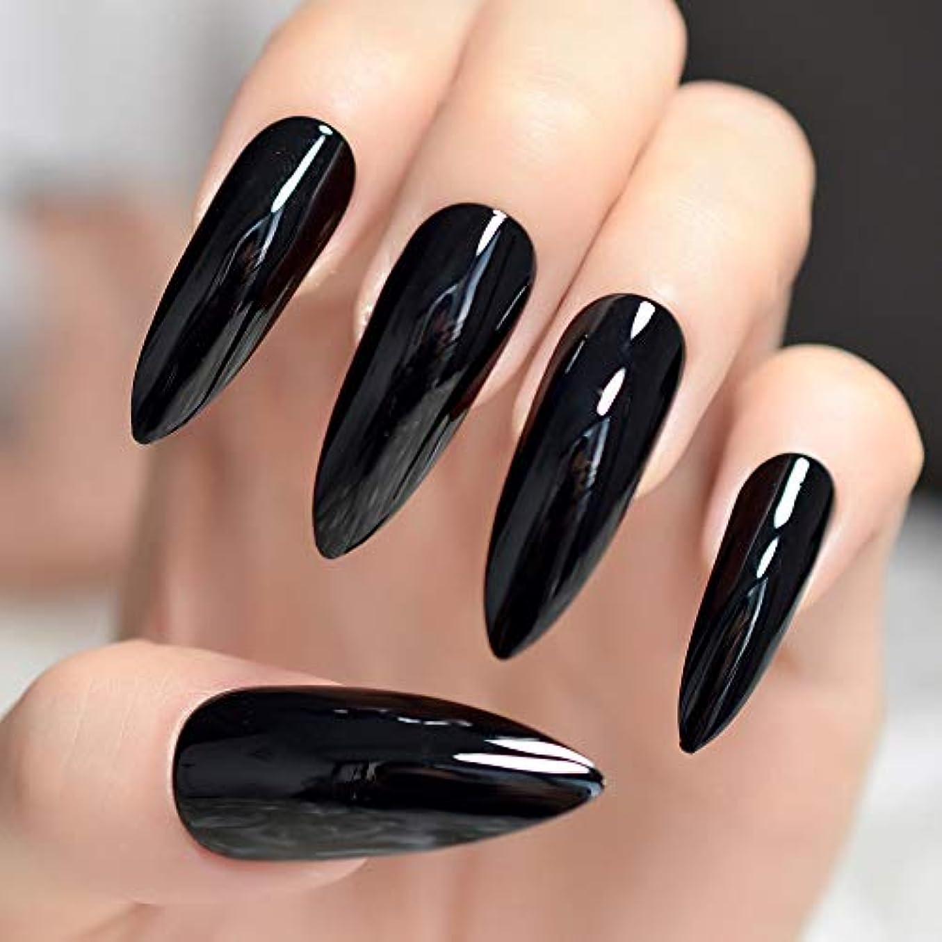 社交的プレートぴかぴかXUTXZKA 黒い長い爪24爪の完全なセットを爪に仕上げました