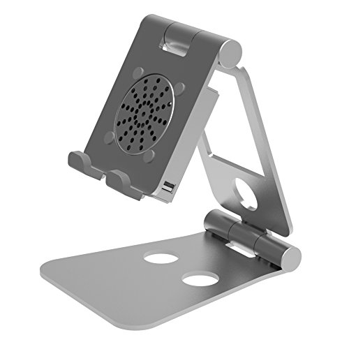 CrazyFire タブレットスタンド 多機能ラジエーター デスクトップスタンド スマホ ホルダー 充電機能付き 冷却装置付き 折り畳み式 角度調整可能