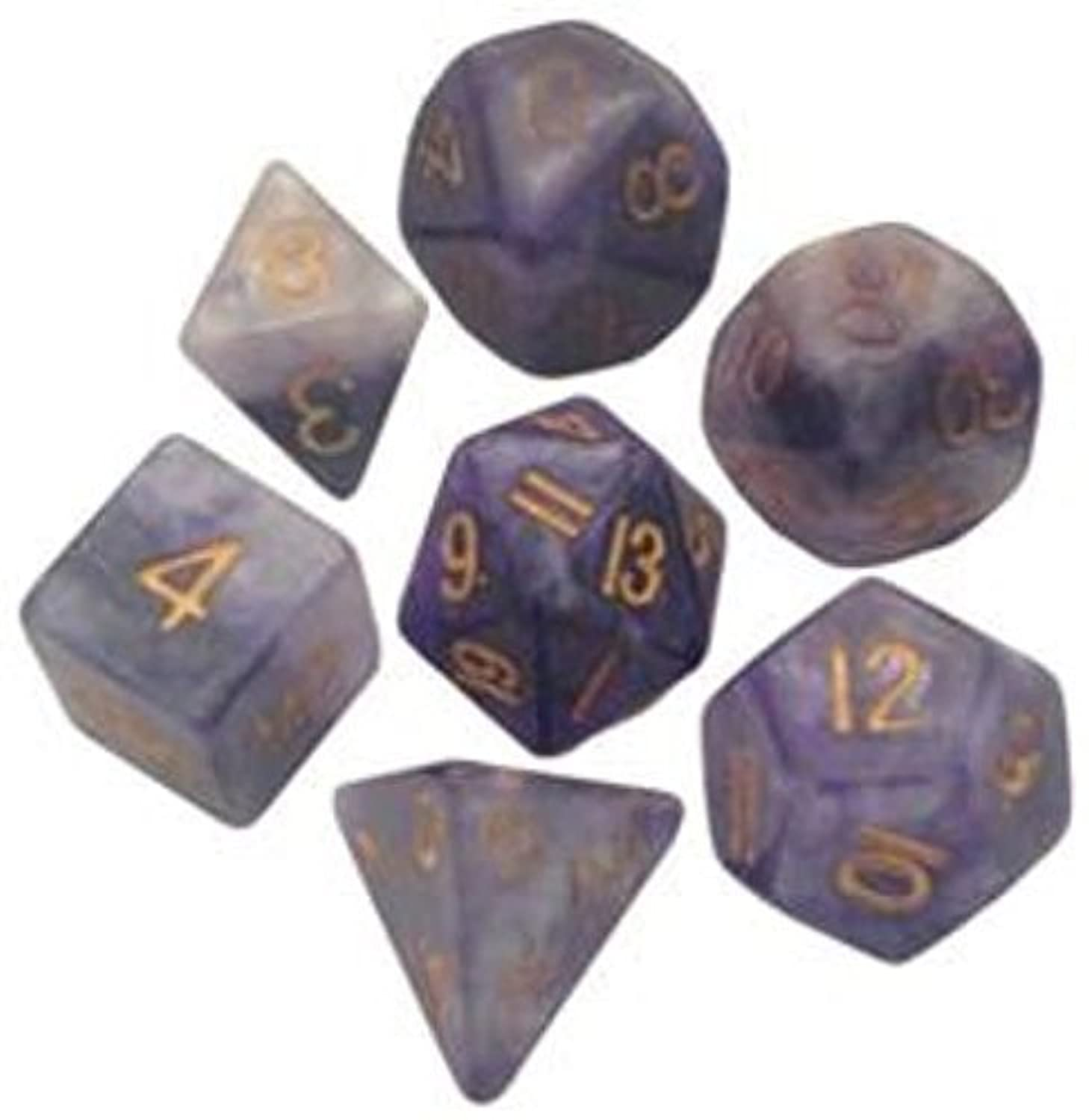 Polyhedral 7 Die Set Resin Dice: Combo Attack Blue/White with Gold Numbers by Metallic Dice Games