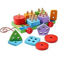 木製 教育 就学前 幼児 カラムトレーラー 車 おもちゃ 形状 色認識 幾何学ボード ブロック 積み重ね 分厚いパズル 25ピース 1~5歳 男の子 女の子 子供 赤ちゃん 幼児 子供用