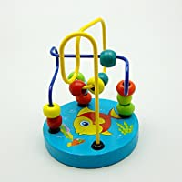 Colourful Baby Kids Children Wooden Toy Mini Around Beads Wire Maze Roller Coaster Educational Game, Goldfish pattern
