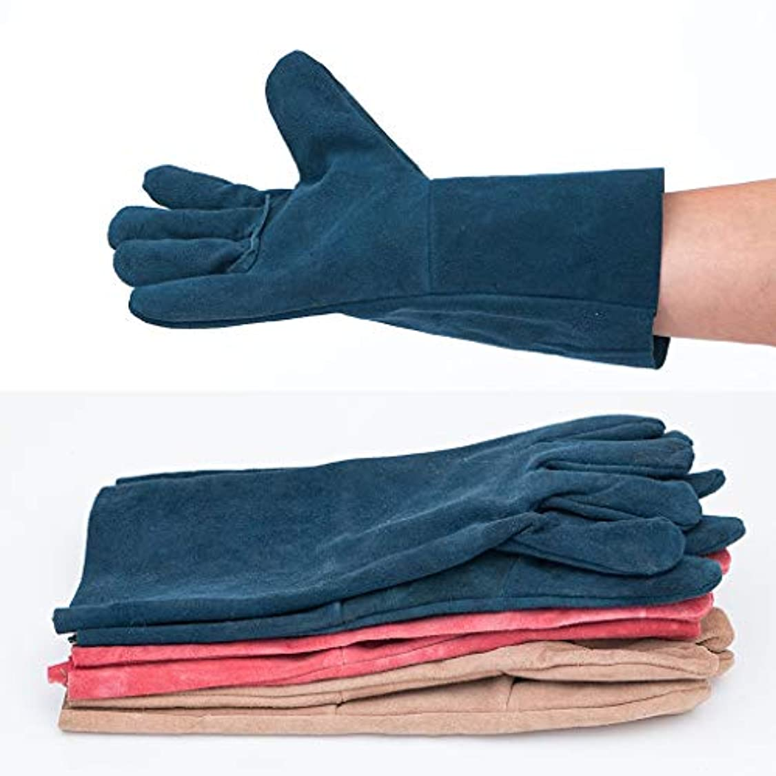 TIG溶接機保護手袋および長革手袋、耐摩耗性絶縁およびやけ防止、33 cm、10ペア、ランダムカラー SHWSM