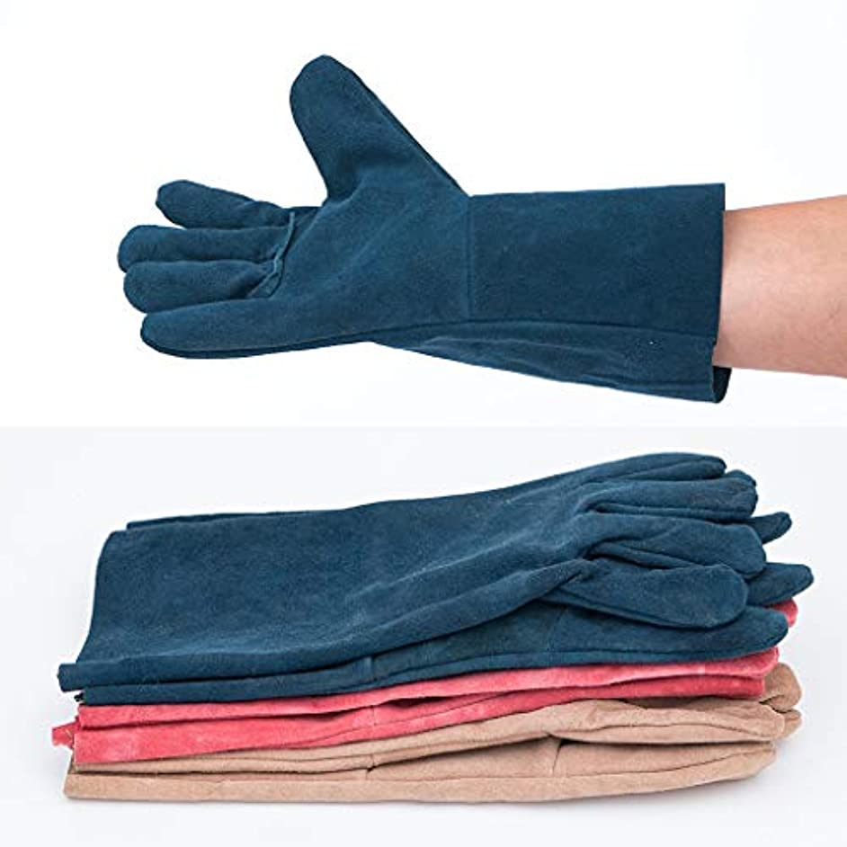 東方つかむ鍔TIG溶接機保護手袋および長革手袋、耐摩耗性絶縁およびやけ防止、33 cm、10ペア、ランダムカラー SHWSM