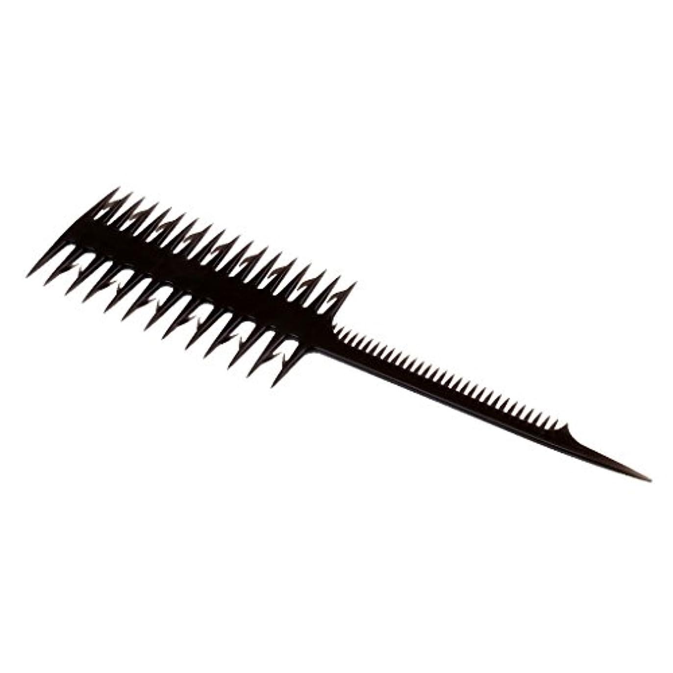 にじみ出るとらえどころのないデモンストレーション2イン1サロンヘアカラーリング染色ティントDIY織りくし細い歯ブラシ - ブラック