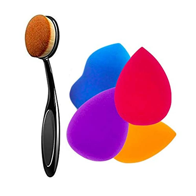 識字全員ラフト4+1pcsメイク用スポンジパフ メイクアップ スポンジパフ 多機能スポンジ メイク美容卵と丸い化粧ブラシ
