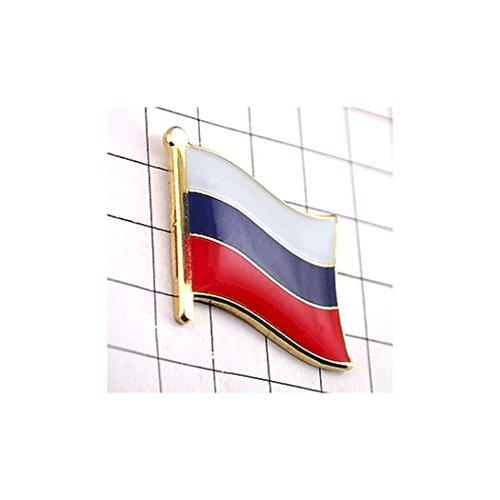 ピンバッジ 白青赤 ロシア 国旗 デラックス薄型 キャッチ付き ピンズ ピンバッチ