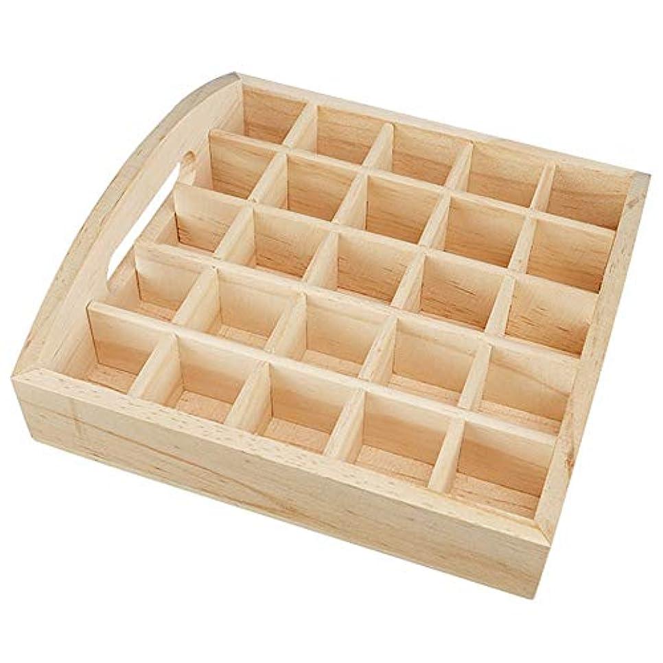 服不格好研磨エッセンシャルオイル収納ボックス 25スロット木製エッセンシャルオイルストレージホルダーは、女性のための25本のボトルナチュラルパインを開催します ポータブル収納ボックス (色 : Natural, サイズ : 18.2X18.2X5.8CM)