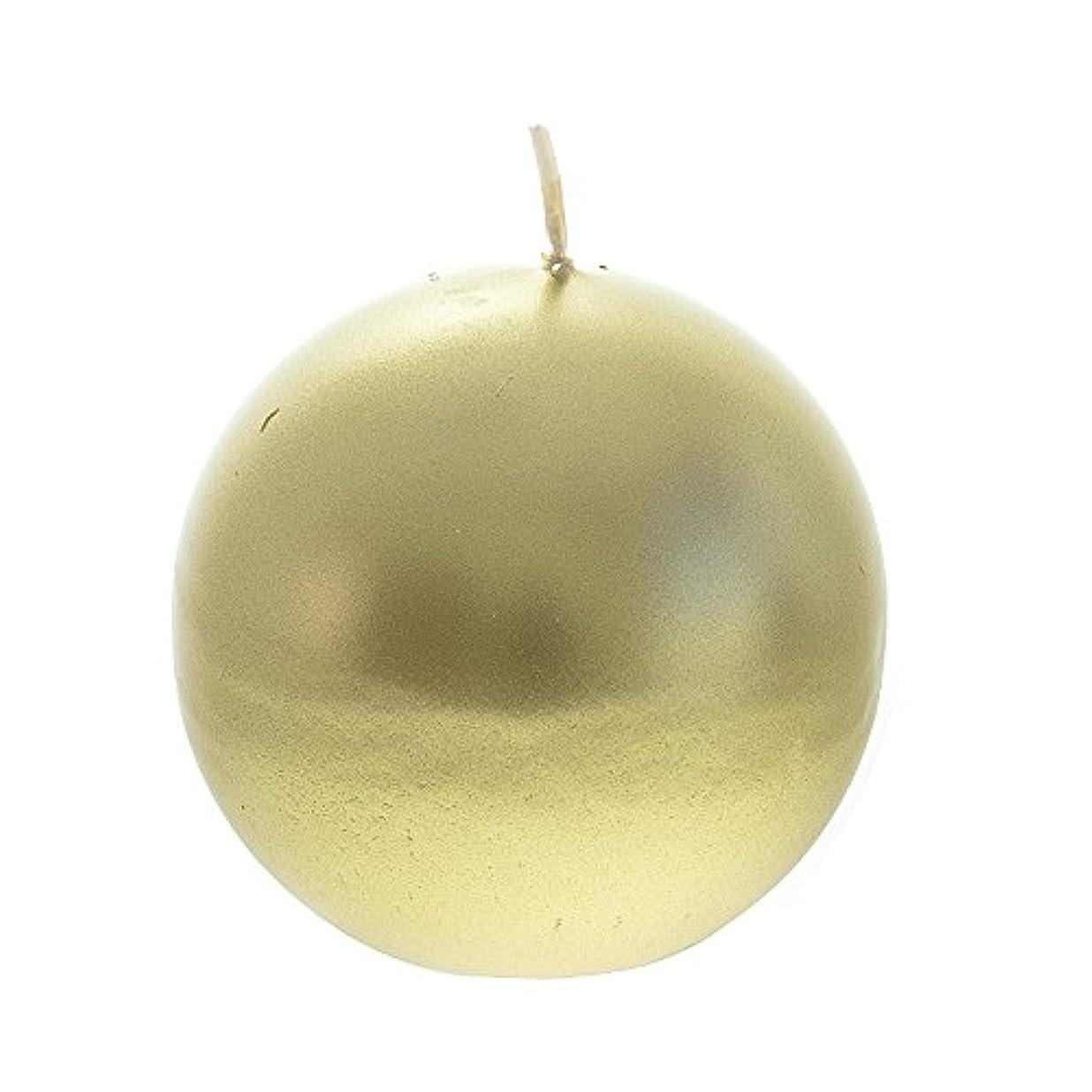 承認再生可能息切れMega Candles - Unscented 7.6cm Hand Poured Round Premium Ball Candle - Gold