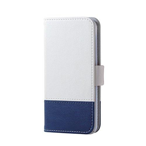 エレコム iPod Touch用 ソフトレザーカバー/ツートンタイプ  ホワイト×ブルー  AVA-T17PLFDTWH