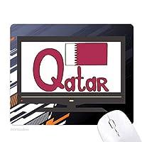 カタールの国旗の紫のパターン ノンスリップラバーマウスパッドはコンピュータゲームのオフィス