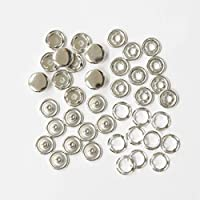 アメリカンホック 10組セット アメリカンホックボタン スナップボタン (シルバー, 10mm)