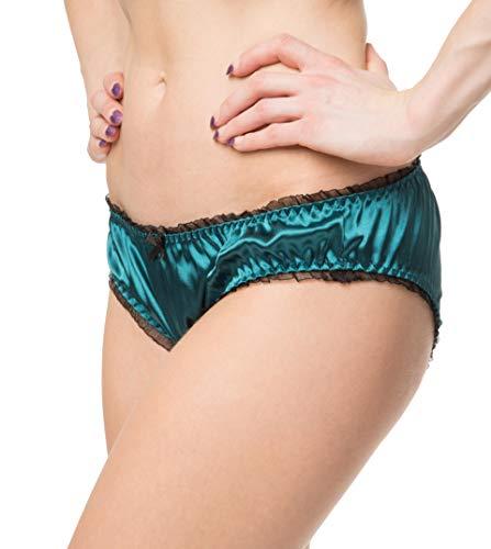 RedRose Women's Sexy Lingerie Satin Bikini Briefs Panties Knickers (Teal Green, XL - US 14-16)
