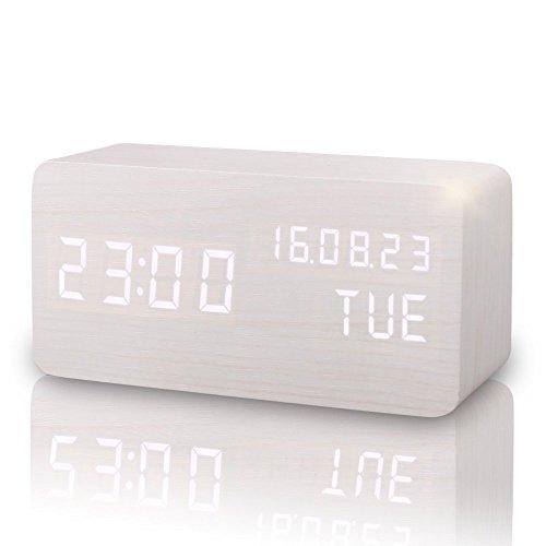 LUCOG 置き時計 木目デジタル 木製 カレンダー LED...