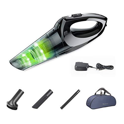 充電式 掃除機 コードレス Baseus ハンディクリーナー LEDライト HEPAフィルター 超強吸引力 家庭用/車用掃除機 収納バッグ付き(ブラック)