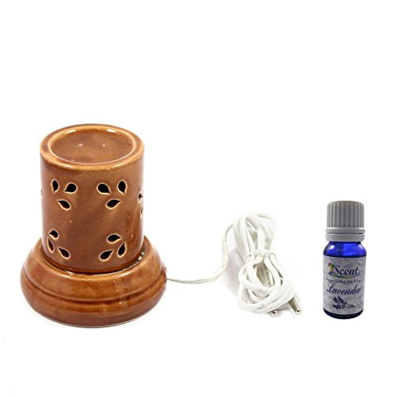 減衰入手しますカトリック教徒ホームデコレーション定期的に使用する汚染フリーハンドメイドセラミックエスニックサンダルウッドフレグランスオイルとアロマディフューザーオイルバーナー良質ブラウン色電気アロマテラピー香油暖かい数量1