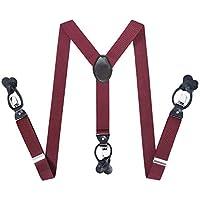 """Mens Button End Suspenders Braces - 1.37"""" Wide Button End Dress Suspender"""