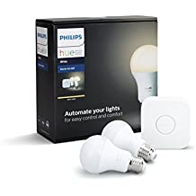 Philips Hue White Edison Screw (E27) Two-Bulb A60 Starter Kit (Compatible with Amazon Alexa, Apple HomeKit and Google Assistant)