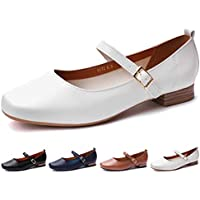 CINAK Womens Mary Jane Flats Shoes-Classic Squared Toe Buckle One Band Comfort Low Heel Dress Slip On