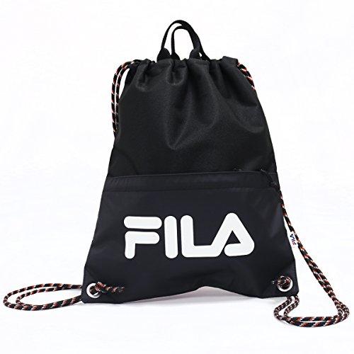 FILA フィラ ジムバック ナップサック ジムサック フロントポケット付き ブランド ブラック
