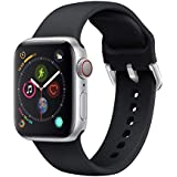 Ontube Strap Compatible with Apple Watch,Soft Silicone Sport Bands Wristband for Apple Watch Series 5/4/3/2/1 (42MM/44MM, Black)