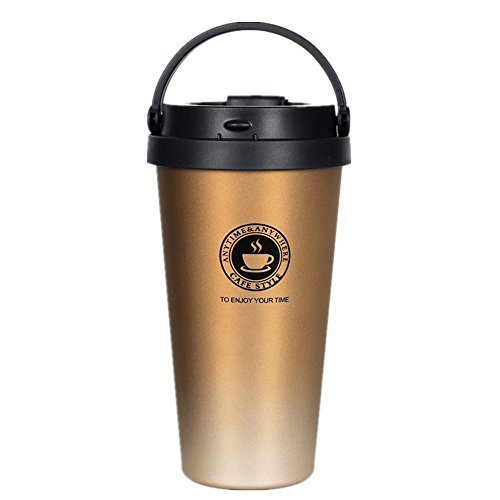 真空断熱 ストロータンブラー ふた付き おしゃれ ステンレス 保温 コーヒー 500ml (ゴールド)