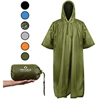Arcturus Lightweight Ripstop Nylon Rain Poncho with Adjustable Hood. Multipurpose, Large, Waterproof Design - Makes a Great Tarp, Ground Cloth, Emergency Shelter Too.