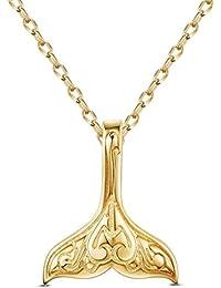 SHEGRACE シルバー925 銀線細工 鯨の尻尾 24kゴールド 純銀 ネックレス ジュエリー レディース アクセサリー おしゃれ 45cm かわいい 動物 ペンダント ネックレス